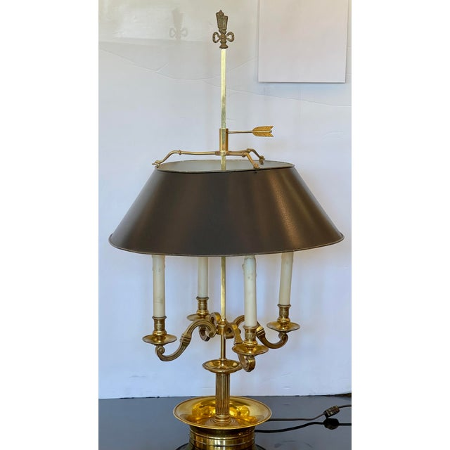 French Large Paul Ferrante French Gilt Bronze Empire Four Light Bouillotte Table Lamp For Sale - Image 3 of 5