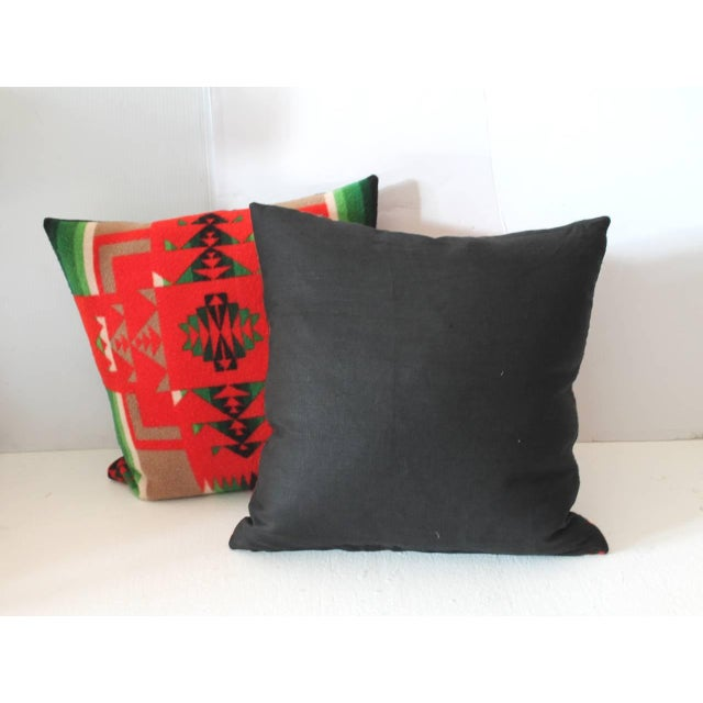 Early 20th Century Pair of Pendleton Indian Design Blanket Pillows For Sale - Image 5 of 5