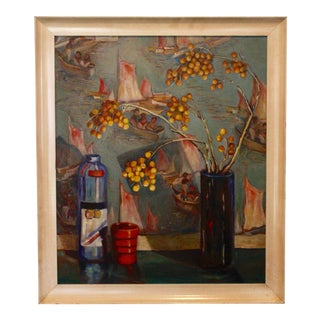 Vintage Mid-Century Acrylic Still Life Painting For Sale