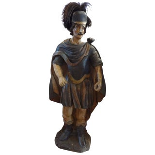 18th Century Spanish Conquistador Carved Wood Sculpture For Sale