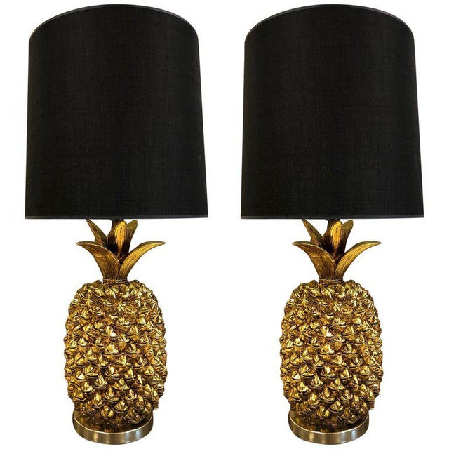 Gold Pair Hollywood Regency Gold Pineapple Lamps For Sale - Image 7 of 7