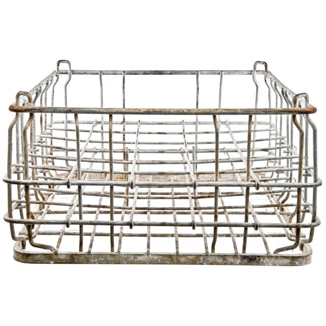 Vintage Galvanized Wire Bottle Crate For Sale - Image 4 of 5