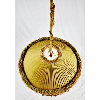 Vintage Large Scale Pleated Fabric W/ Fringe Decor Swag Pendant Light Preview