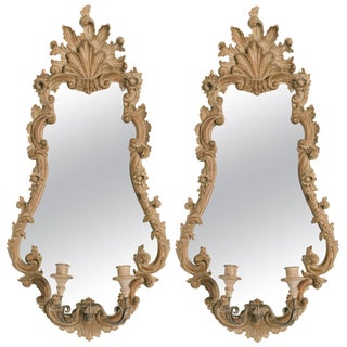 Pair of 1950s Italian Carved Wood Mirrors With Sconces For Sale