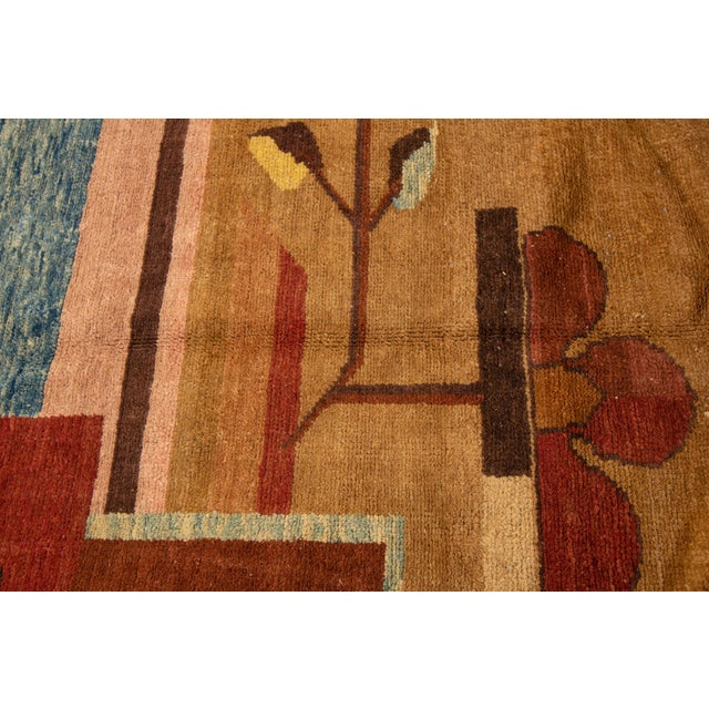 Vintage Art Deco Style Square Wool Rug For Sale In New York - Image 6 of 13