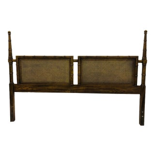 Mid 20th Century Vintage Cane Back King Headboard For Sale