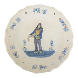 1880s French Faience Quimper Plate For Sale