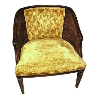 Tufted Velvet Cane Back Armchair For Sale