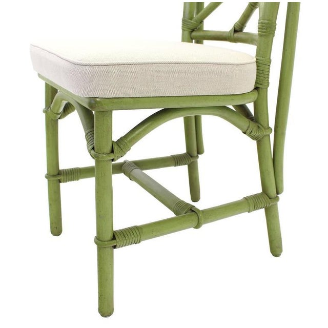 Wood Square Game Table and Four Chairs Green Faux Bamboo Rattan For Sale - Image 7 of 11