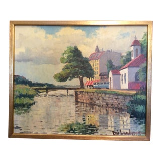 Swedish Oil Painting River With Street Scene For Sale