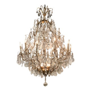 19th Century French Gilt Bronze and Crystal 15 Light Chandelier For Sale