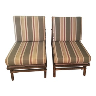 Ficks Reed Co. Bamboo & Rattan Slipper Chairs - a Pair