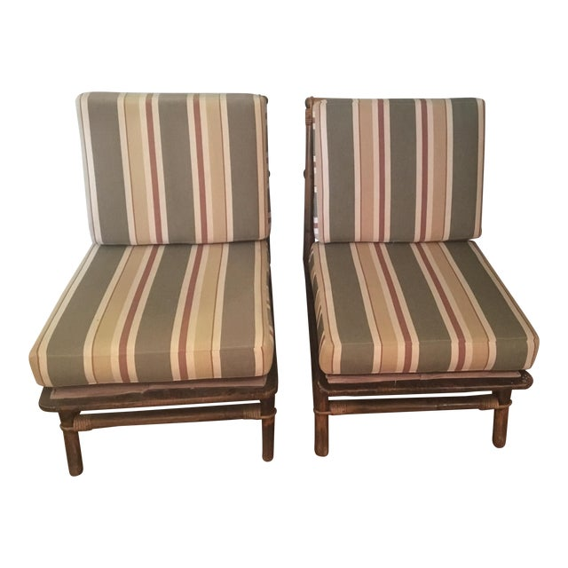 Ficks Reed Co. Bamboo & Rattan Slipper Chairs - a Pair For Sale