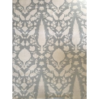 Persian Schumacher Chenonceau Fabric in Aqua - 4.5 Yards For Sale