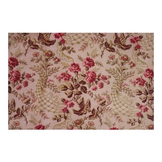 Antique French Rococo Cretonne Pink Upholstery Weight Fabric For Sale