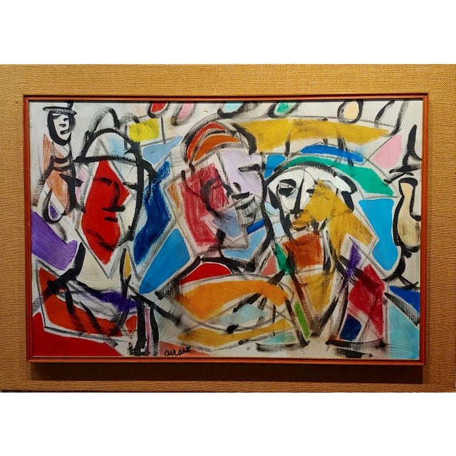 Pascal Cucaro - Faces in a Landscape - 1960s Abstract Oil painting Expressionist oil painting on board - Signed circa...