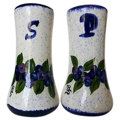 Maine Potters Blueberry Salt & Pepper Shakers - A Pair - Image 1 of 6