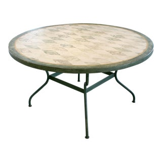 Spanish Round Green Metal Dining Table For Sale