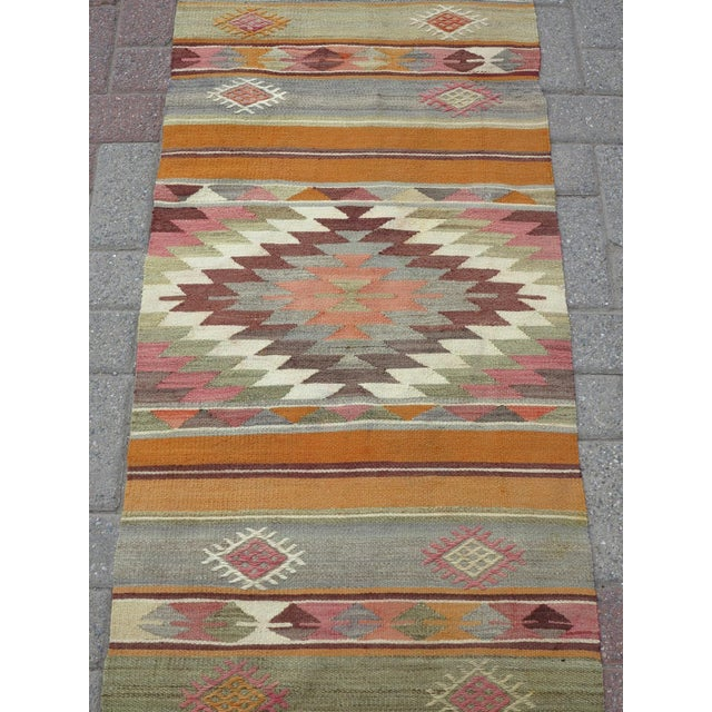 "1960s Anatolian Kilim Runner Pastel Colored Hallway -2'1'x10"" For Sale - Image 5 of 13"