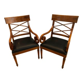 Vintage Baker Furniture Milling Road Neoclassic Leather Arm Chairs - a Pair For Sale