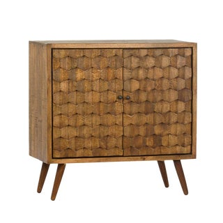 Raw Hexagon Wood Side Cabinet For Sale