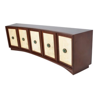 Dramatic Curved Mahogany Goatskin Credenza For Sale