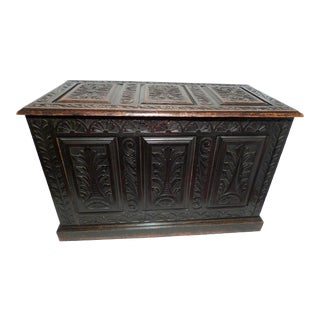 Victorian Carved Oak Coffer Storage Chest For Sale