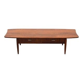 Walnut Mid Century Modern Coffee Table For Sale