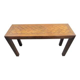 Henredon Oak Parson Style Console Table For Sale