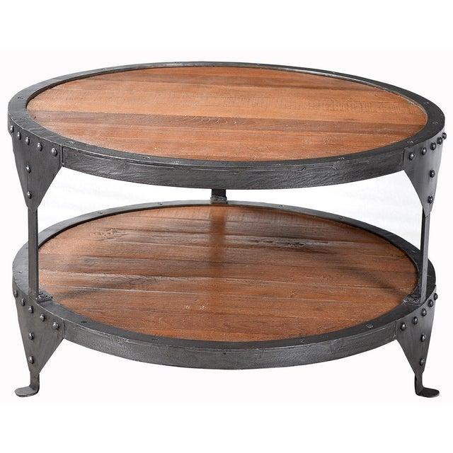 Round Old Wood Iron Coffee Table Chairish