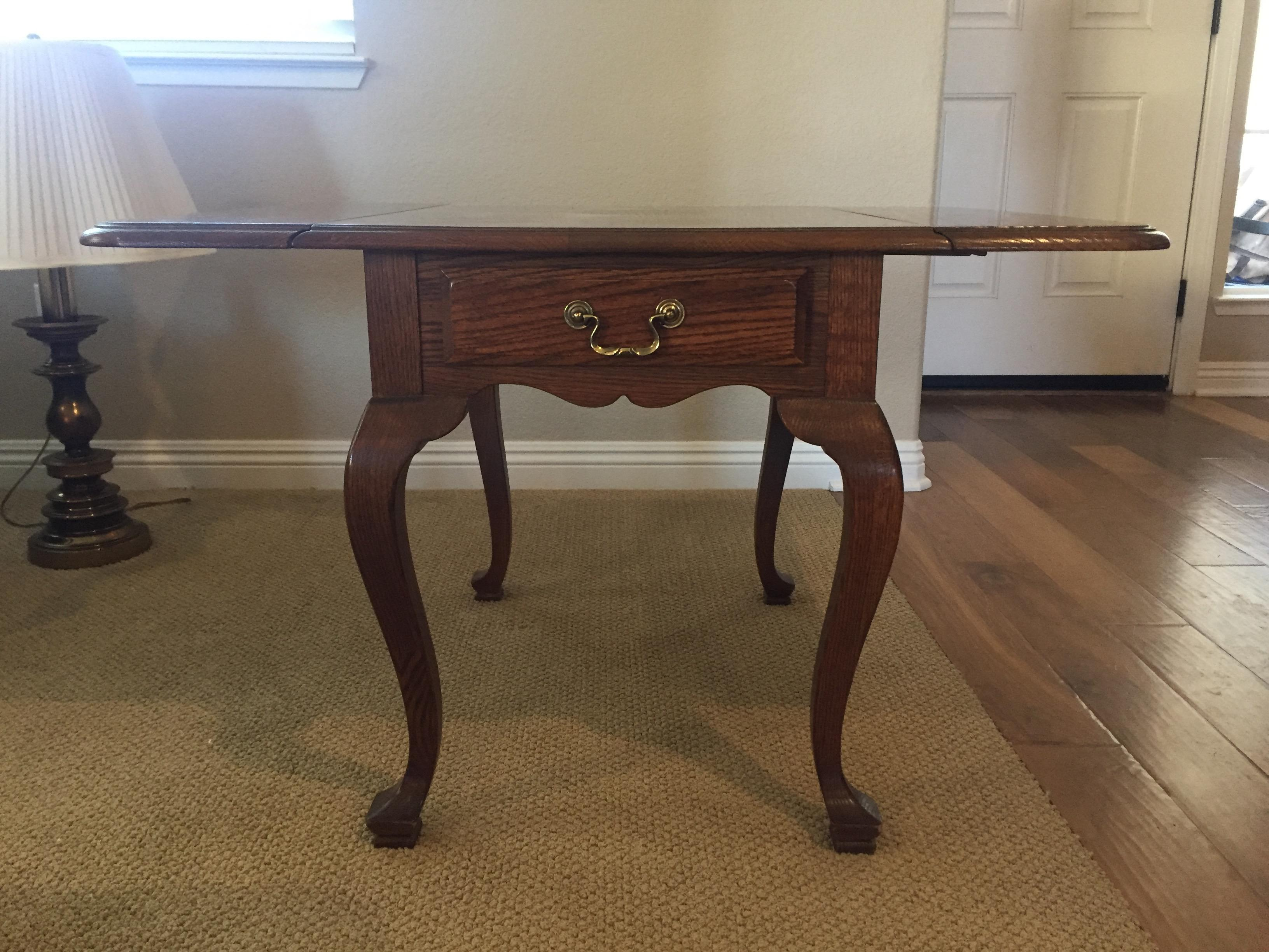 Ethan Allen Canterbury Oak Drop Leaf Side Table Chairish