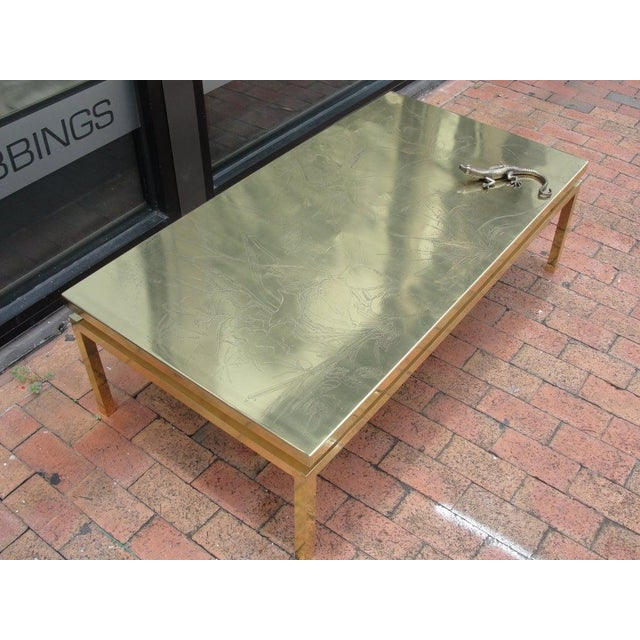 Metal Polished Brass Etched Top Cocktail Table by Rosseau For Sale - Image 7 of 10