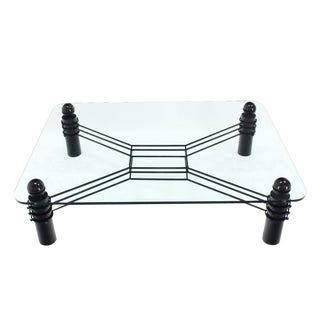 Large Thick Rectangular Glass Coffee Table Huge Massive