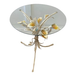 Italian Tole Calla Lily Table For Sale
