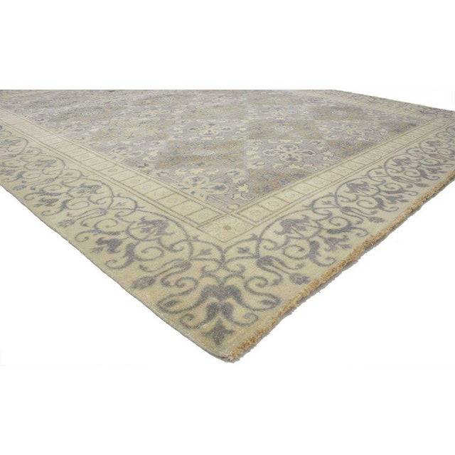 30341 Transitional Area Rug with Khotan Pattern and Modernist Neoclassic Style 09'00 x 10'07. This hand-knotted wool...