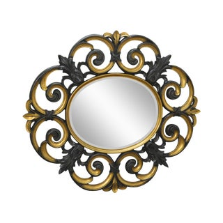 Large Baroque Style Partial Gilt Beveled Wall Mirror For Sale