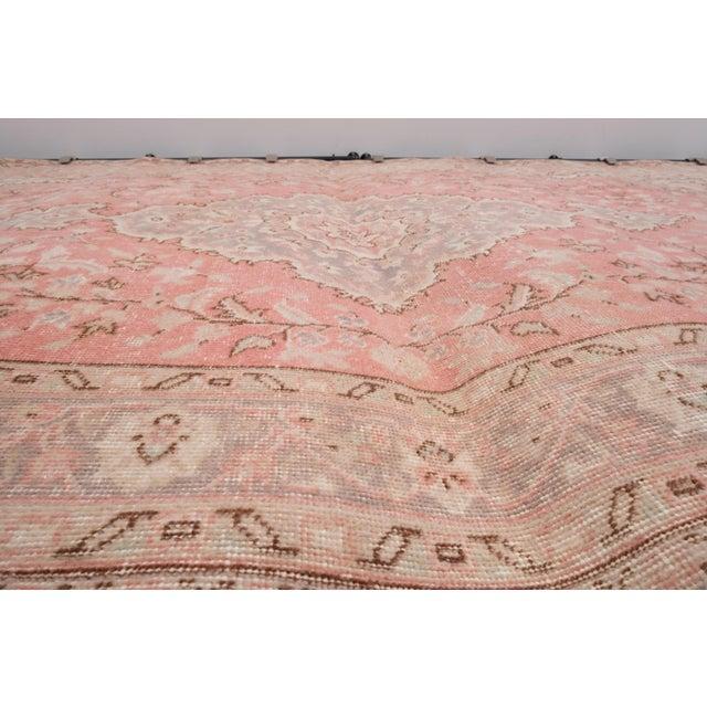 """Light Pink Vintage Floral Woolen Sparta Rug 6' X 8'9"""" For Sale - Image 8 of 11"""