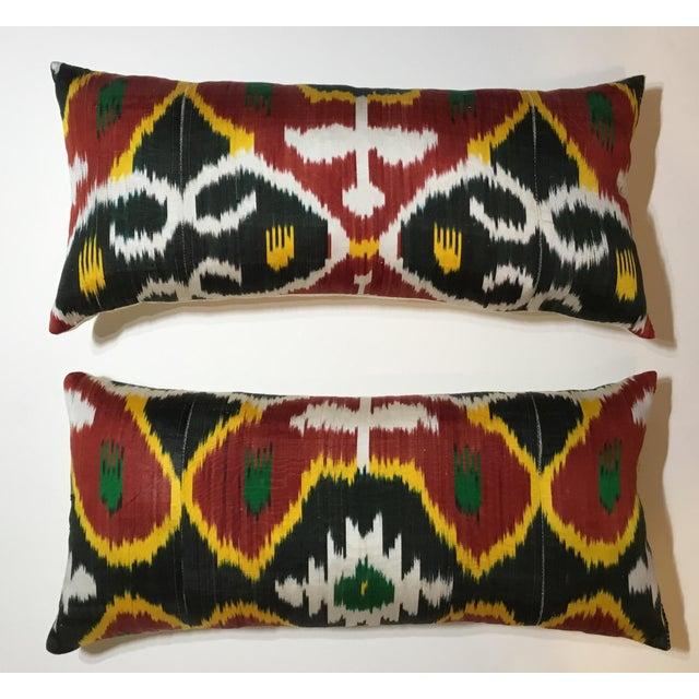 Silk Ikat Lumbar Pillows - a Pair For Sale - Image 13 of 13