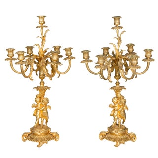 Pair of 19th Century Louis XV Style Ormolu Candelabra For Sale