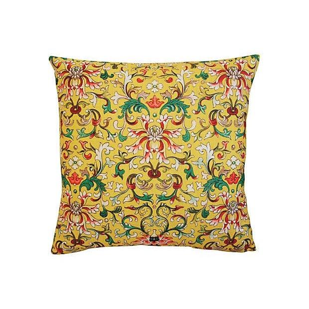 Custom Asian Yellow Floral Linen Pillows - A Pair - Image 3 of 7