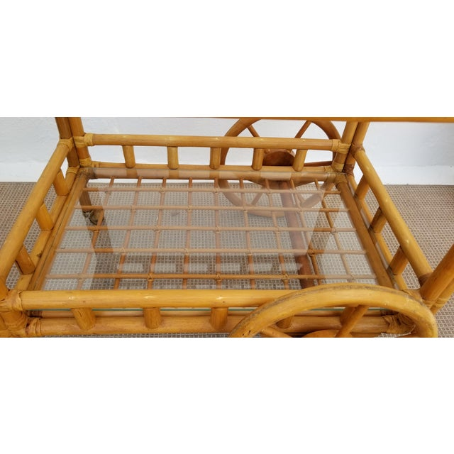Wood Vintage Boho Chic Rattan & Bamboo Rolling Bar Cart For Sale - Image 7 of 13