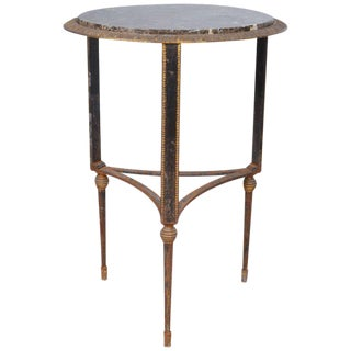 Round Art Deco Marble and Iron Side Table For Sale