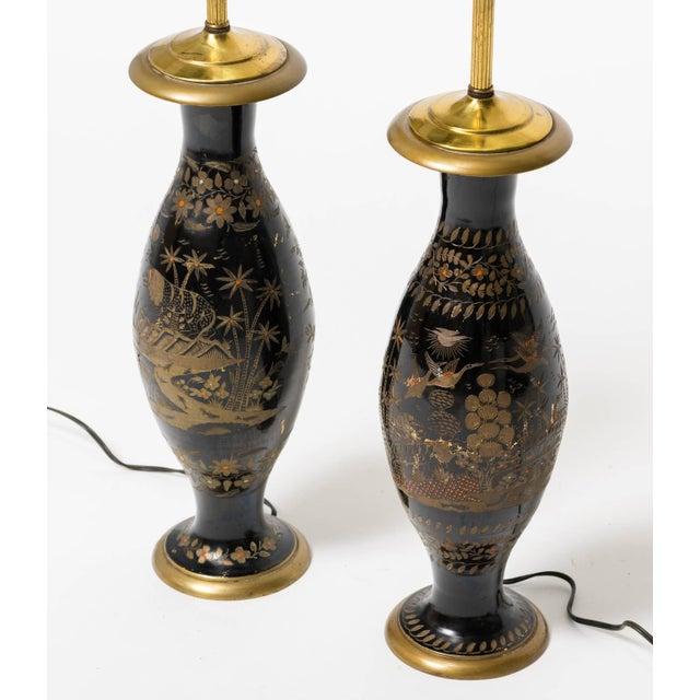 1960s Pair of Brass Etched Asian Motif Table Lamps For Sale - Image 5 of 7