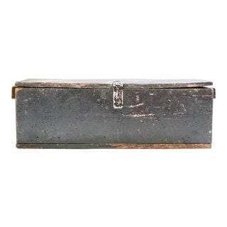 1940s Primitive Black Wooden Chest