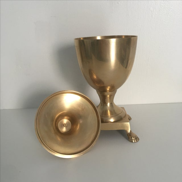 Mid-Century Footed Brass Urn - Image 6 of 7