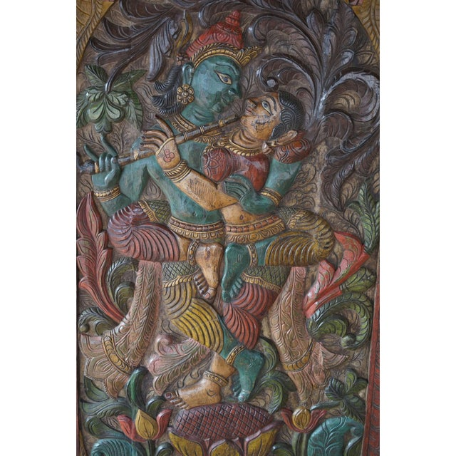 Vintage Hand Carved Krishna Radha Fluting Standing on Lotus Indian Wall Hanging Barn Door For Sale - Image 4 of 5