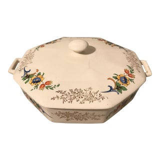 Mid-Century Homer Laughlin Covered Ceramic Serving Dish For Sale