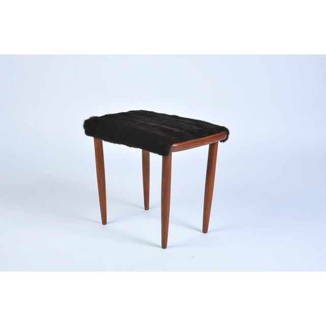 1950s Mid-Century Modern Fur Covered Footstool For Sale - Image 5 of 5