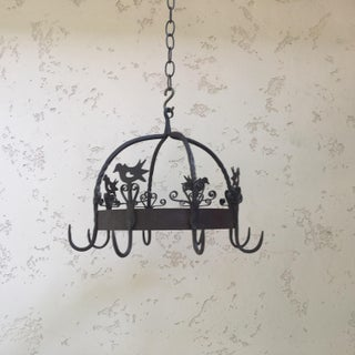 Vintage French Iron Crown Birds Pot Rack Preview