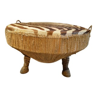 African Zebra Ghana Drum Table For Sale